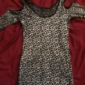 Cold shoulder cut out leopard pinup glitter dress